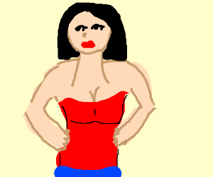 Woman with neck growing out of her chest.