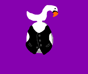 An egg with a swan for a head and a vest