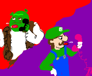 Shrek and Luigi poke tongues.
