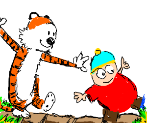 Hobbes follows Cartman across a bridge