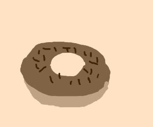 A chocolate sprinkles doughnut