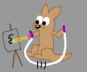 A kangaroo skips rope and draws; multitask