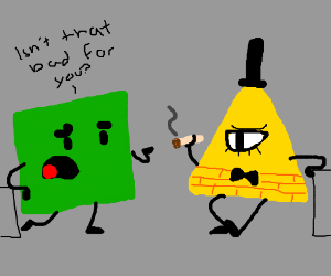 green square nervous about smoking triangle