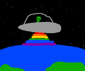 Aliens and Earth connected through Gay Pride