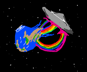 A UFO is absorbing the earth with rainbows!