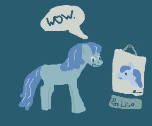 A pony admires art.