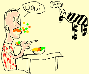 Man spits out food in surprise @ stripy animal