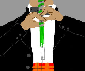 guy in a suit taking a snort of candy