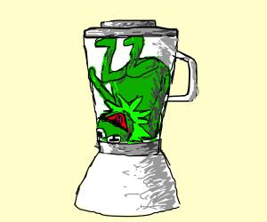 someone put kermit in a blender!
