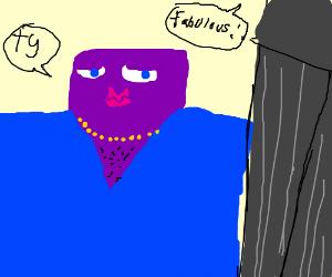 Wide purple midget models blue suit