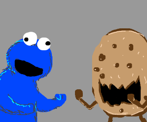 Cookie Monster fighting a Cookie-Monster