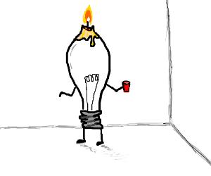 light bulb dressed up for halloween