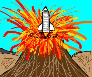 spaceship launching from eruption vulcano
