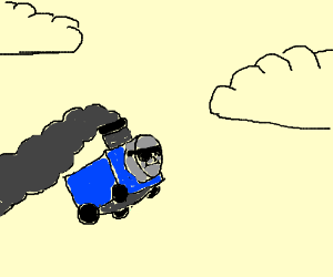 Thomas the tank Engine learns to fly