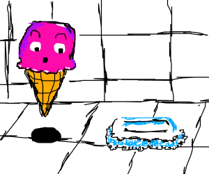 Ice cream cone surprised by soap.
