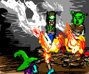 Shrek and luigi burned at the stake by leilei