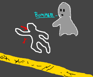 A ghost looks at his body's chalk outline