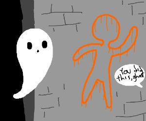 ghost blamed for orange chalk outline graffiti
