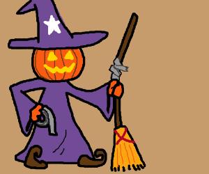 Pumpkin Wizard fixes a broom.