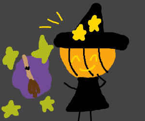 Pumpkin witch repairs broom