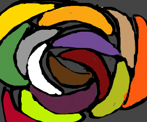 A spiral of variously colored bananas.
