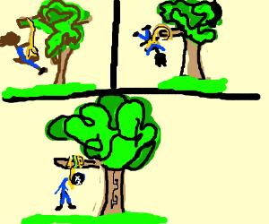 man hangs himself with a hanging tree swing