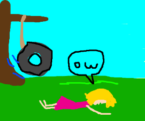 Girl faceplants out of tire swing.