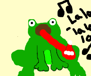 Frog sings with Santa hat on his tongue. (???)
