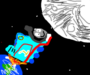 Thomas the derpy train goes to the moon.
