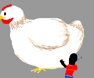 Colorlessman tries to carry giant chicken