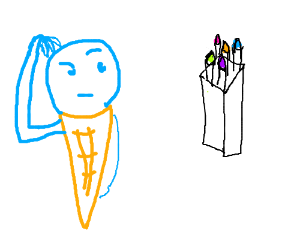 Ice cream cone is confused by box of crayons.