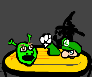 Witch decides to cook Luigi and Shrek 4 dinner