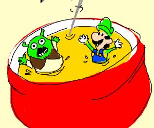 Shrek and Luigi in a fondue