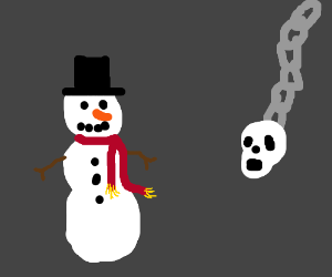 Snowman about to be hit by skull on chain