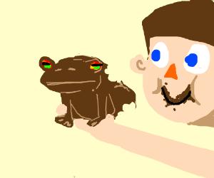 a bitten chocolate frog