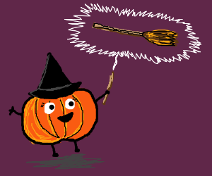 The pumpkin witch creates a broomstick.