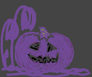 a pumpkin and some flowers glow purple