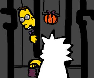 Lisa Simpson trick-or-treats Professor Frink