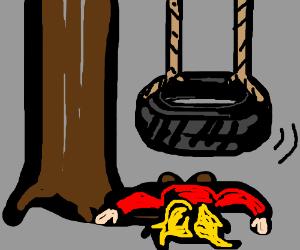 girl faceplants falling off a tire swing