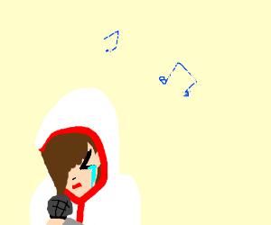 Ezio the assassin cries at karaoke night