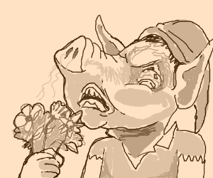pig-nosed elf hates smell of flowers