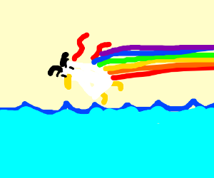 mad duck from earthbound trailing a rainbow