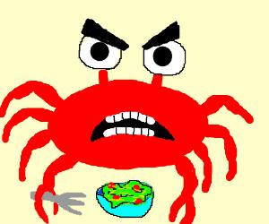 Upset vegetarian crab