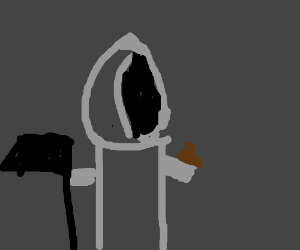 Grim reaper with poop on his finger
