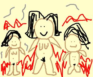 Secksy naked women on fire (HAWT)