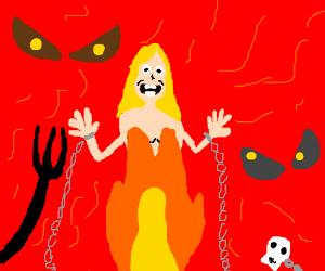 Happy naked women in hell