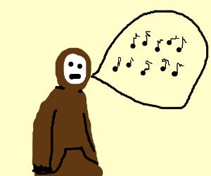 A kid in a hoodie sings badly.