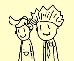 Two weird-looking guys are happy.