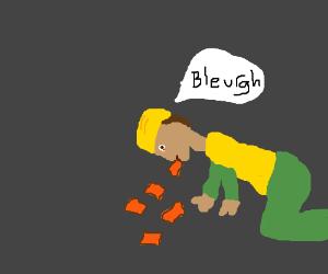 construction-worker vomits clinker-bricks