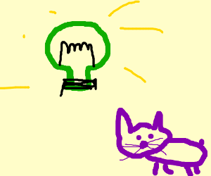 Green bulb and a purple cat